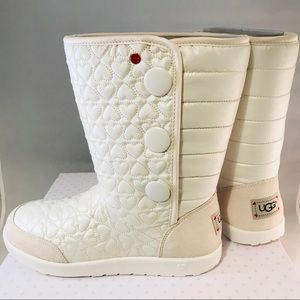 I Heart Uggs Puffy Tall White Boots NIB